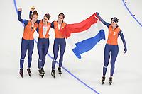 OLYMPIC GAMES: PYEONGCHANG: 21-02-2018, Gangneung Oval, Team Pursuit, Antoinette de Jong, Ireen Wüst, Marrit Leenstra, Lotte van Beek, ©photo Martin de Jong