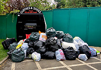 High Wycombe, UK. 16th April, 2020.<br /> Bags of clothes pile up outside a donation area during the Covid-19 Pandemic as the UK Government advice to maintain social distancing and minimise time outside in High Wycombe on 16 April 2020. Photo by PRiME Media Images