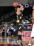 Alabama State Hornets forward Tanika Jackson (33) in action during the SWAC Tournament game between the Southern Lady Jaguars and the Alabama State Hornets at the Special Events Center in Garland, Texas. Southern defeats Alabama State 58 to 39.