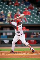 Louisville Bats second baseman Dilson Herrera (15) bats during a game against the Columbus Clippers on May 1, 2017 at Louisville Slugger Field in Louisville, Kentucky.  Columbus defeated Louisville 6-1  (Mike Janes/Four Seam Images)