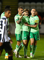 16th September 2020; St Mirren Park, Paisley, Renfrewshire, Scotland; Scottish Premiership Football, St Mirren versus Celtic; James Forrest of Celtic celebrates with Scott Brown and Patryk Klimala of Celtic after he makes it 2-1 to Celtic in the 36th minute