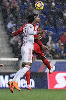 Harrison, NJ - Thursday March 01, 2018: Michael Murillo, Carlo Costly. The New York Red Bulls defeated C.D. Olimpia 2-0 (3-1 on aggregate) during a 2018 CONCACAF Champions League Round of 16 match at Red Bull Arena.