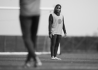 COMMERCE CITY, CO - OCTOBER 25: Catarina Macario of the USWNT listens to Vlatko Andonovski at Dick's Sporting Goods training fields on October 25, 2020 in Commerce City, Colorado.