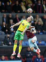 2nd October 2021;  Turf Moor, Burnley, Lancashire, England; Premier League football, Burnley versus Norwich City: Matthias Normann of Norwich City wins a header