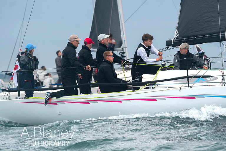 Winning team: Checkmate XVIII's crew in high concentration mode. Photo: Annraoi Blaney