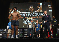 LAS VEGAS, NV - AUG 20:  Manny Pacquiao at the official weigh-in at the MGM Grand Garden Arena for the upcoming Fox Sports PBC pay-per-view fight night on August 20, 2021. The Pacquiao vs Ugas pay-per-view will be on August 21 at T-Mobile Arena in Las Vegas. (Photo by Scott Kirkland/Fox Sports/PictureGroup)