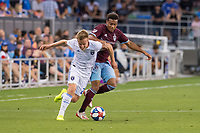 SAN JOSÉ CA - JULY 27: Tommy Thompson #22 and Jonathan Lewis #11 during a Major League Soccer (MLS) match between the San Jose Earthquakes and the Colorado Rapids on July 27, 2019 at Avaya Stadium in San José, California.