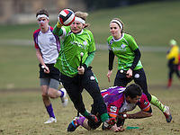 08 MAR 2015 - NOTTINGHAM, GBR - Benjamin Morton of Keele Squirrels evades a challenge during the 2015 British Quidditch Cup bronze medal match against Loughborough Longshots at Woollaton Hall and Deer Park in Nottingham, Great Britain (PHOTO COPYRIGHT © 2015 NIGEL FARROW, ALL RIGHTS RESERVED)