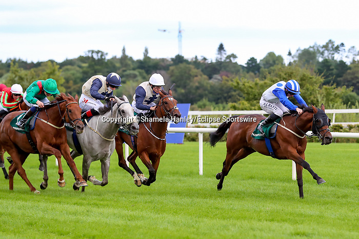 September 11, 2021: Camorra (IRE) #1, ridden by jockey Gary Carroll wins the Group 3 Paddy Power Stakes on the turf on Irish Champions Weekend at Leopardstown Racecourse in Dublin, Ireland on September 11th, 2021. Shamela Hanley/Eclipse Sportswire/CSM