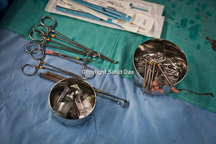 Detail of surgical instruments in an operation theatre of the Narayana Hrudayalaya in Bangalore, Karnataka, India. Photo: Sanjit Das/Panos