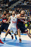 Real Madrid´s player Felipe Reyes and Bayern Munich´s player Bryant during the 4th match of the Turkish Airlines Euroleague at Barclaycard Center in Madrid, Spain, November 05, 2015. <br /> (ALTERPHOTOS/BorjaB.Hojas)