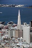 aerial photograph San Francisco financial district toward Treasure Island