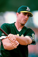 Ben Grieve of the Oakland Athletics participates in a Major League Baseball game at Dodger Stadium during the 1998 season in Los Angeles, California. (Larry Goren/Four Seam Images)