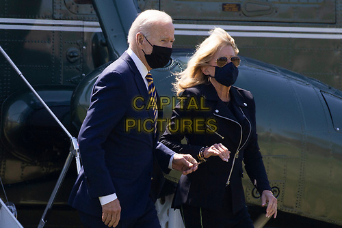US President Joe Biden and First Lady Jill Biden arrive on the Ellipse by Marine One en route to the White House, in Washington, DC, USA, 05 April 2021. Biden returns to the White House following a trip to Camp David.<br /> CAP/MPI/RS<br /> ©RS/MPI/Capital Pictures