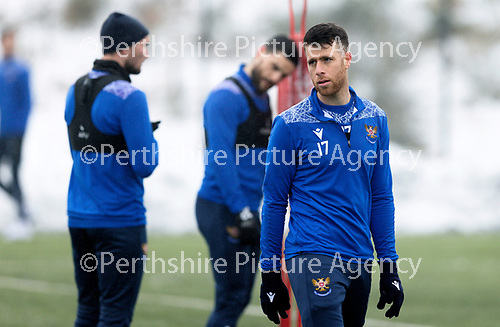 St Johnstone Training...   21.01.21<br />Guy Melamed pictured during training at McDiarmid Park ahead of Saturday's BetFred Cup semi-final against Hibs at Hampden.<br />Picture by Graeme Hart.<br />Copyright Perthshire Picture Agency<br />Tel: 01738 623350  Mobile: 07990 594431
