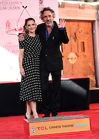 Tim Burton + Winona Ryder @ hand and foot prints ceremony held @ the TCL Chinese theatre. September 8, 2016