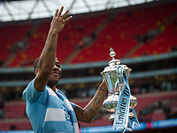Raheem Sterling of Man City holds up FA Cup with 4 fingers during the FA Cup FINAL match between Manchester City and Watford at Wembley Stadium, London, England on 18 May 2019. Photo by Andy Rowland.<br /> .<br /> Editorial use only, license required for commercial use. No use in betting,<br /> games or a single club/league/player publications.'