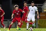 Baha Abdelrahman Suleiman of Jordan (R) fights for the ball with Mckee, Jaimes Anthony of Hong Kong (L) during the International Friendly match between Hong Kong and Jordan at Mongkok Stadium on June 7, 2017 in Hong Kong, China. Photo by Marcio Rodrigo Machado / Power Sport Images
