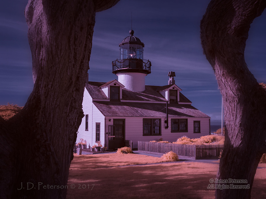 Point Pinos Light, Pacific Grove, California (Infrared) ©2017 James D Peterson.  First lit in 1855, this is the oldest continuously operating lighthouse on the west coast.