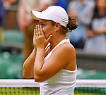 London Wimbledon Championships Day 12 10/07/2021<br /> Ash Barty (AUS) celebrates victory wearing a tribute to her heroine  Evonne Goolagong Crawley, a replica scalloped dress <br /> Roger Parker International Sports Fotos Ltd