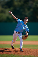 Pitcher Peter Heubeck (9) during the WWBA World Championship at Terry Park on October 8, 2020 in Fort Myers, Florida.  Peter Heubeck , a resident of Baltimore, Maryland who attends Gilman High School, is committed to Wake Forest.  (Mike Janes/Four Seam Images)