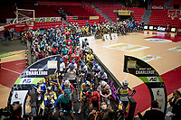Race start inside the empty Spirou Basketbal Dome in Charleroi<br /> <br /> 85th La Flèche Wallonne 2021 (1.UWT)<br /> 1 day race from Charleroi to the Mur de Huy (BEL): 194km<br /> <br /> ©kramon