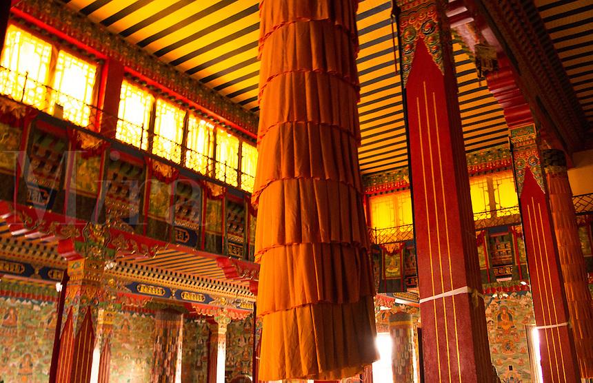 Kathmandu Nepal Buddhist temple decoration at the  Drikung Kagyu Rinchenling monastery. Eastern Kathmandu.