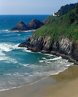 Evening light on Heceta Head Lighthouse on the Pacific Ocean; Devil's Elbow State Park, OR