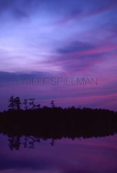 Original Image Photographed in March 1983 0n Kodachrome Transparency Film.<br /> <br /> Chatsworth Lake at Dusk, Viewed from County Route 532 in the New Jersey Pine Barrens near the town of Chatsworth, New Jersey, USA