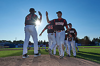 Batavia Muckdogs Ryan Cranmer (12) high fives Galvi Moscat (27) after the first game of a doubleheader against the Mahoning Valley Scrappers on July 2, 2015 at Dwyer Stadium in Batavia, New York.  Batavia defeated Mahoning Valley 4-1.  (Mike Janes/Four Seam Images)