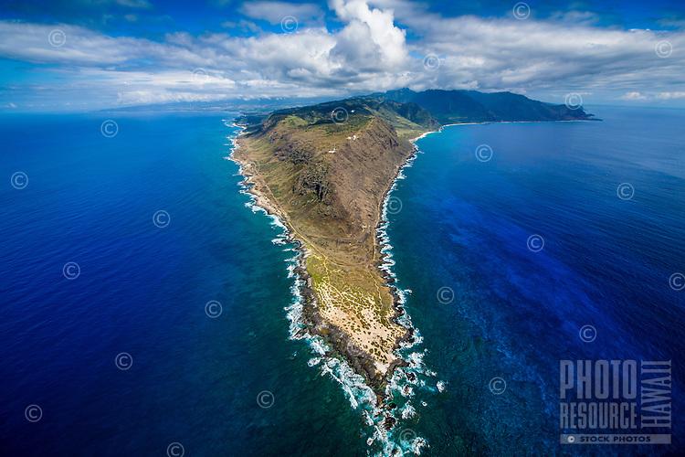 An aerial view of Ka'ena Point, West O'ahu.