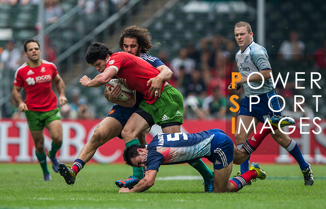 France vs Portugal on Bowl Quarter Final during the Cathay Pacific / HSBC Hong Kong Sevens at the Hong Kong Stadium on 30 March 2014 in Hong Kong, China. Photo by Andy Jones / Power Sport Images