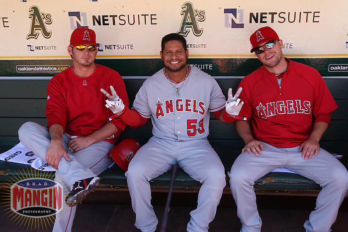 OAKLAND, CA - SEPTEMBER 4:  Bobby Abreu of the Los Angeles Angels of Anaheim sits in the dugout before the game against the Oakland Athletics at the Oakland-Alameda County Coliseum on September 4, 2010 in Oakland, California. Photo by Brad Mangin