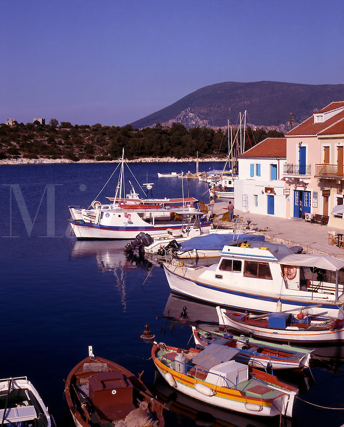 Greece. Ionian Islands. Kefallonia. Fishing boats. Fiskardo village.