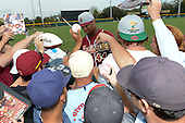 Florida State Seminoles designated hitter / relief pitcher Jameis Winston (44) signs autographs before a game against the South Florida Bulls on March 5, 2014 at Red McEwen Field in Tampa, Florida.  Florida State defeated South Florida 4-1.  (Copyright Mike Janes Photography)