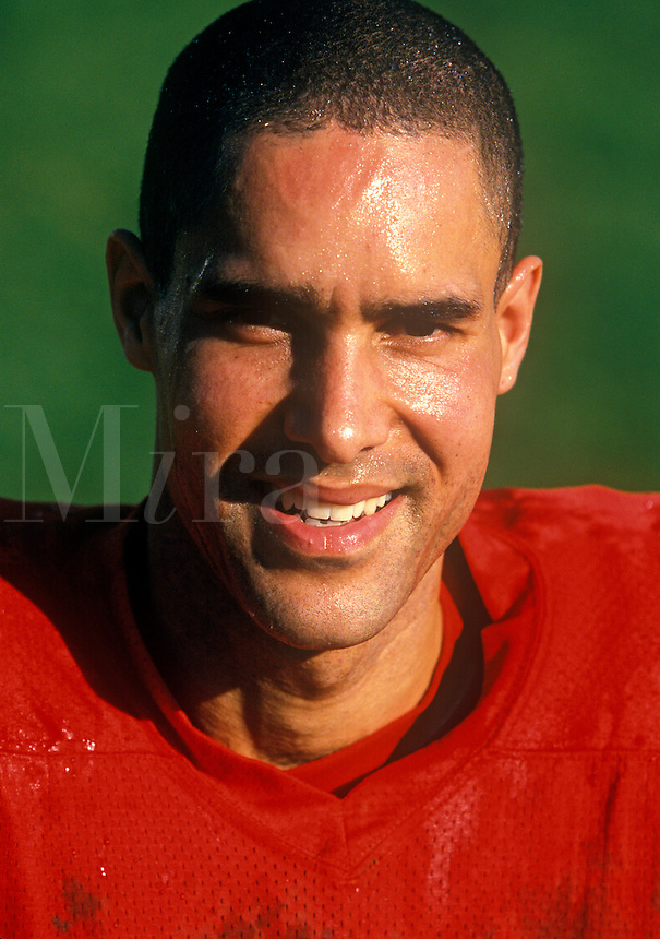 Portrait of a football player.
