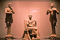 Greek Art:  Late Classic--Early Hellenistic Group--two sirens and seated man, perhaps Orpheus. Terra cotta, South Italian, Ca 350-300 B.C.  Getty Museum, Malibu.