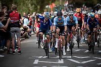 Wout van Aert (BEL/Jumbo-Visma), Sonny Colbrelli (ITA/Bahrain - Victorious) & Jasper Stuyven (BEL/Trek-Segafredo) together in the race finale.<br /> <br /> Elite Men World Championships - Road Race<br /> from Antwerp to Leuven (268.3km)<br /> <br /> UCI Road World Championships - Flanders Belgium 2021<br /> <br /> ©kramon