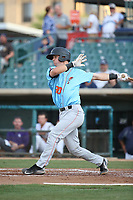 Jack Kruger (30) of the Inland Empire 66ers bats against the Lancaster JetHawks at The Hanger on September 3, 2017 in Lancaster, California. Lancaster defeated Inland Empire, 5-4. (Larry Goren/Four Seam Images)