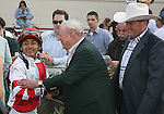 7 February 2009:  Gabriel Saez is congratulated after his win aboard Honest Man in the Mineshaft Stakes on Risen Star Stakes Day at the Fair Grounds Race Course in New Orleans, Louisiana.