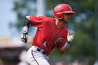 Harrisburg Senators second baseman Reegie Corona (6) runs to first during a game against the Erie Seawolves on August 30, 2015 at Jerry Uht Park in Erie, Pennsylvania.  Harrisburg defeated Erie 4-3.  (Mike Janes/Four Seam Images)