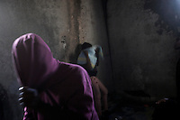 Sub-Saharan illegal female migrants in the detention centre for women in Surman, west Libya.