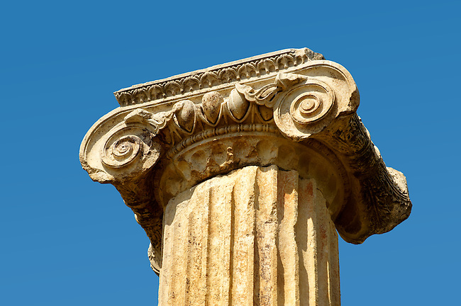 Ionic olumns around the sanctuary of Artimis with the Agora, Magnesia on the Meander arcaeological site, Turkey