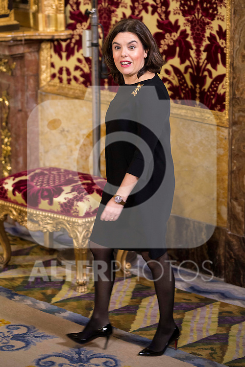 Deputy Prime Minister Soraya Saenz de Santa Maria during the meeting between King Felipe VI of Spain and the president of the Portuguese Republic, Sr. Marcelo Rebelo De Sousa at Real Palace in Madrid March 17,2016. (ALTERPHOTOS/Borja B.Hojas)
