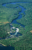Amazon, Brazil. Aerial view; Xingu river tributary with ox bow lake formation, islets and rapids.