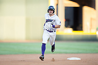 Sam Dexter (14) of the Winston-Salem Dash rounds the bases after hitting a home run against the Potomac Nationals at BB&T Ballpark on August 5, 2017 in Winston-Salem, North Carolina.  The Dash defeated the Nationals 6-0.  (Brian Westerholt/Four Seam Images)