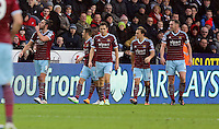 Pictured: Andy Carroll of West Ham (L) celebrating his opening goal Saturday 10 January 2015<br /> Re: Barclays Premier League, Swansea City FC v West Ham United at the Liberty Stadium, south Wales, UK