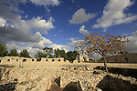 Israel, Sharon region. Ruins of the Egyptian fort on Tel Afek, built in the late Bronze Age