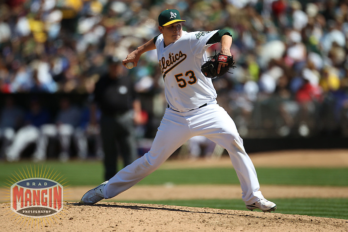 OAKLAND, CA - AUGUST 8:  Trevor Cahill #53 of the Oakland Athletics pitches against the Texas Rangers during the game at the Oakland-Alameda County Coliseum on August 8, 2010 in Oakland, California. Photo by Brad Mangin