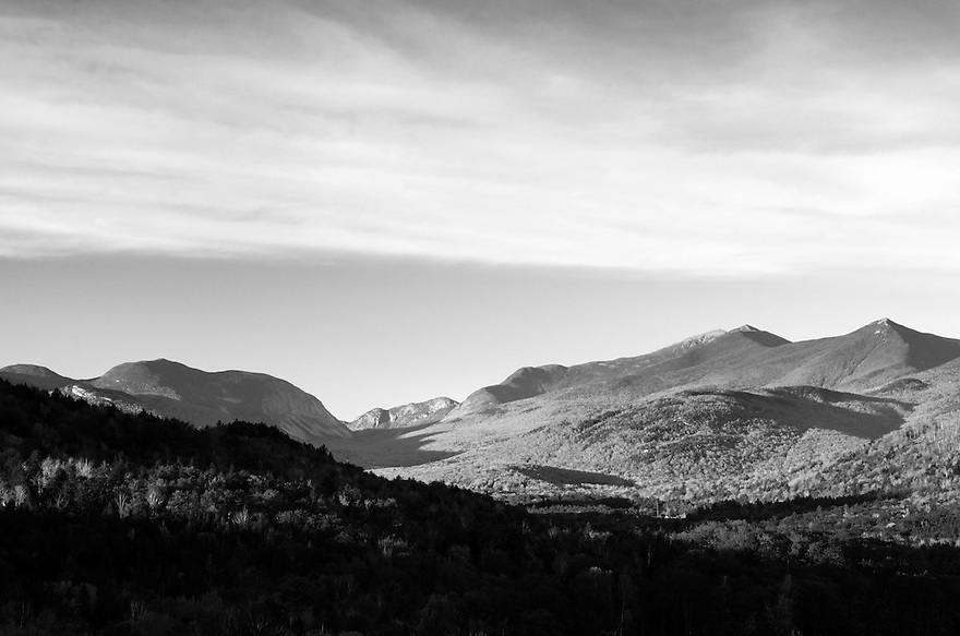 A unique look at Franconia Notch transformed into a tonally rich Black and White image.